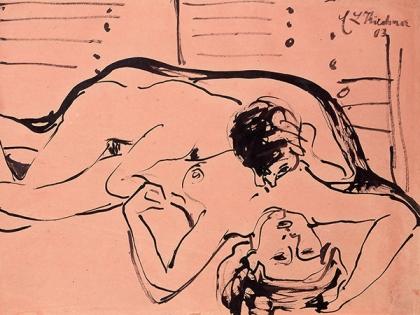 Ernst Ludwig Kirchner: Liebespaar, 1909, Rohrfeder und Tusche Public Domain